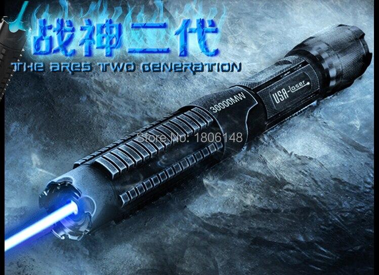 Plus Puissant 500000 mw 500 w 450nm Bleu Pointeurs Laser lampe de Poche Brûler L'allumette Bougie Cigarette Allumée Méchants LAZER Torche Chasse - 3