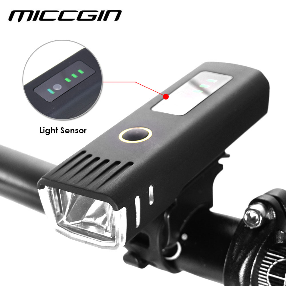 MICCGIN Bike Sensor Battery Display LED Bicycle Light Lantern For Bicycle Cycling Flashlight Waterproof USB Lamp Accessories