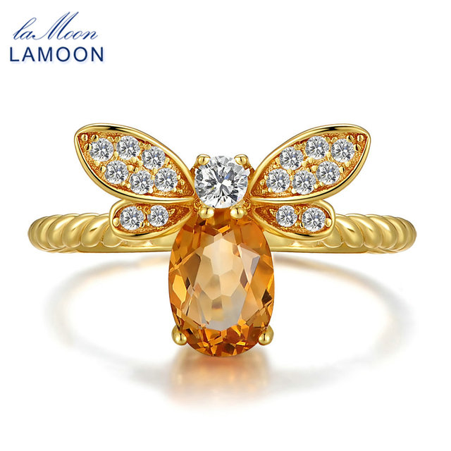 URING- Bee 5x7mm 1ct Natural Oval Citrine 925 Sterling Silver Jewelry Wedding Ring with 14K Gold Plated S925 For Women LMRI019