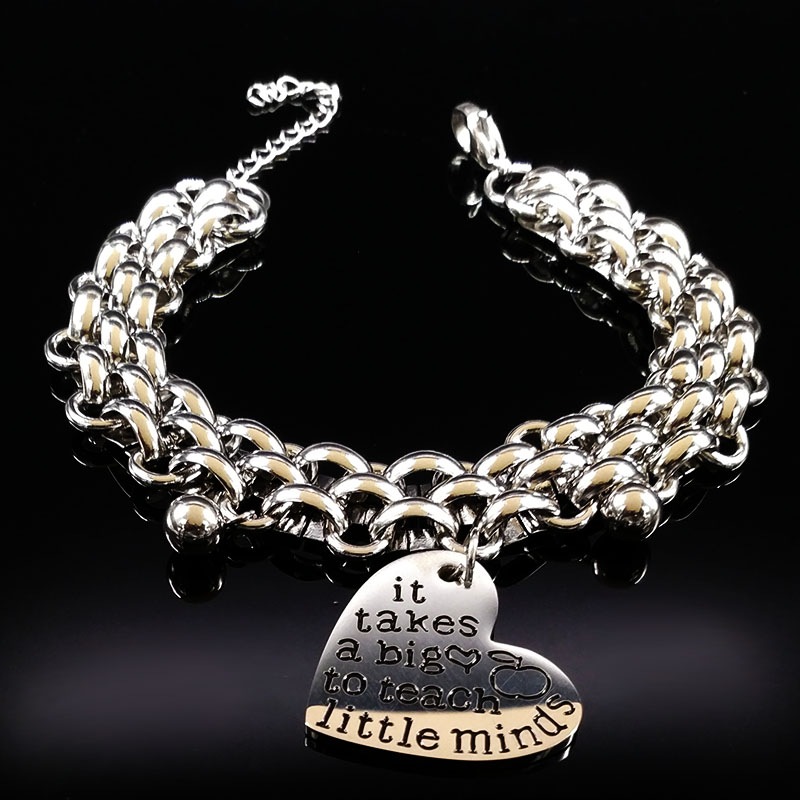 2018 it take a big to teach little minds Stainless Steel Bracelet for Teacher Gift Jewelry Gift pulseras para las mujeres B17986