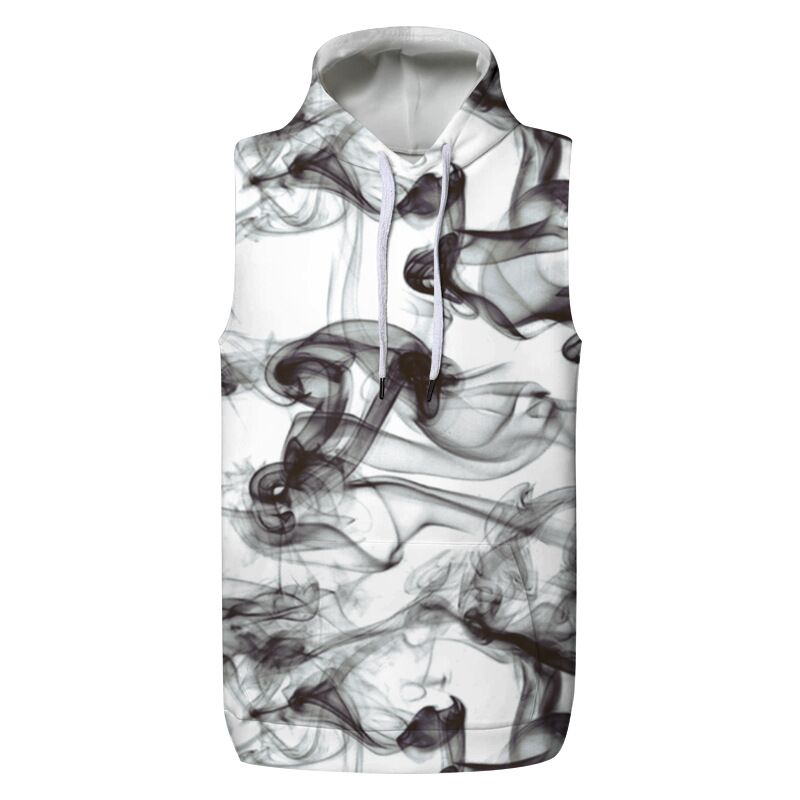 CFYH 2018 New Fashion Ink Style Men's 3D Vest Hooded Spring Casual Loose Pullovers Waistcoats Hooded Tank Tops Hoody Plus Size