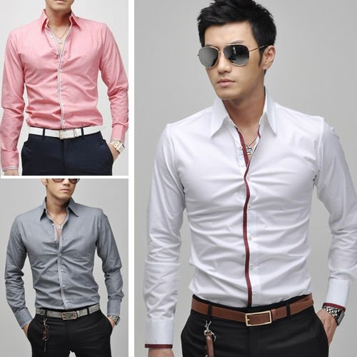 Free Shipping New Mens Casual Slim Fit Stylish Dress
