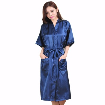Plus Size XXXL Navy Blue Rayon Bathrobe Women's Kimono Long Robe Sexy Lingerie Classic Nightgown Sleepwear with Belt NB021 pinkwin blue xxxl
