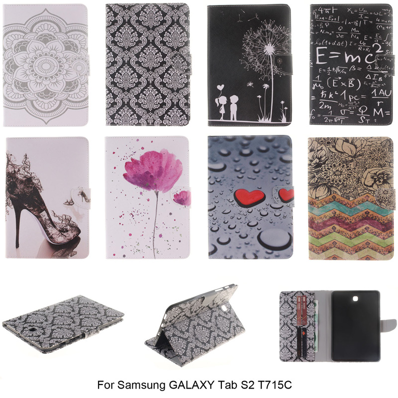 Wallet Flip Stand PU Leather Cover For Samsung GALAXY Tab S2 T715 T715C 8 inch Tablet With Card Holder Smart Auto Sleep Function tx flip pu leather with soft tpu back cover card holder case for samsung galaxy tab 3 8 0 inch t310 t311 t315 tablet cases
