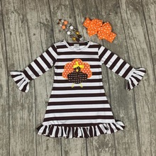 thanksgiving baby girls kids Fall striped brown outfits dress turkey boutique cotton ruffle children clothes match accessory