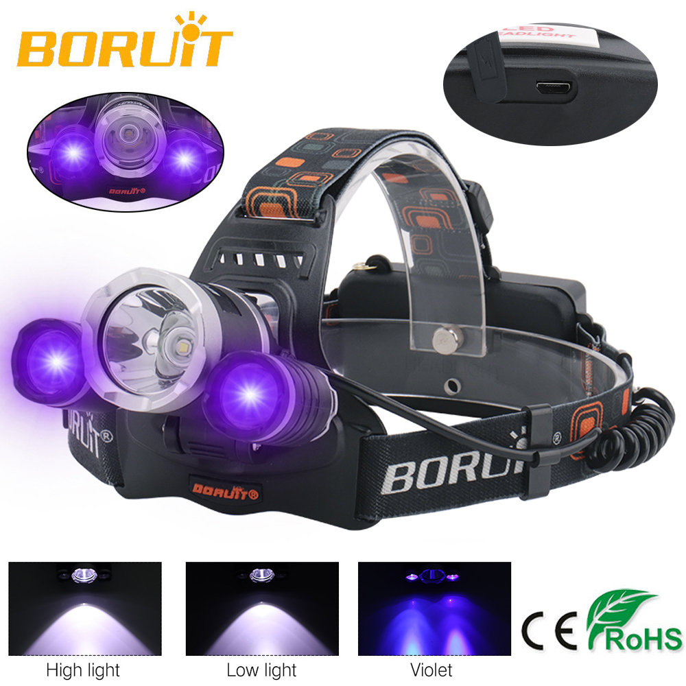 BORUIT UV LED Purple Headlamp 6000LM XM-T6+2*XPE 395nm Headlight Torch 3-Mode USB Charger Violet Head Torch Searching FISHING
