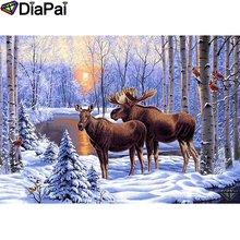 DIAPAI 5D DIY Diamond Painting 100% Full Square/Round Drill Deer snow scene Embroidery Cross Stitch 3D Decor A22220
