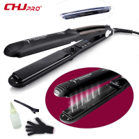 CHJ Steam Function Flat Iron Tourmaline Ceramic Vapor Professional Hair Straightener With Argan Oil Infusion Straightening