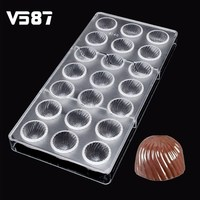 Chocolate Mold 21 DIY 3D Polycarbonate Round Thread Plastic Clear Ice Jelly Candy Mould PC Cube Transparent Tray Baking Tool