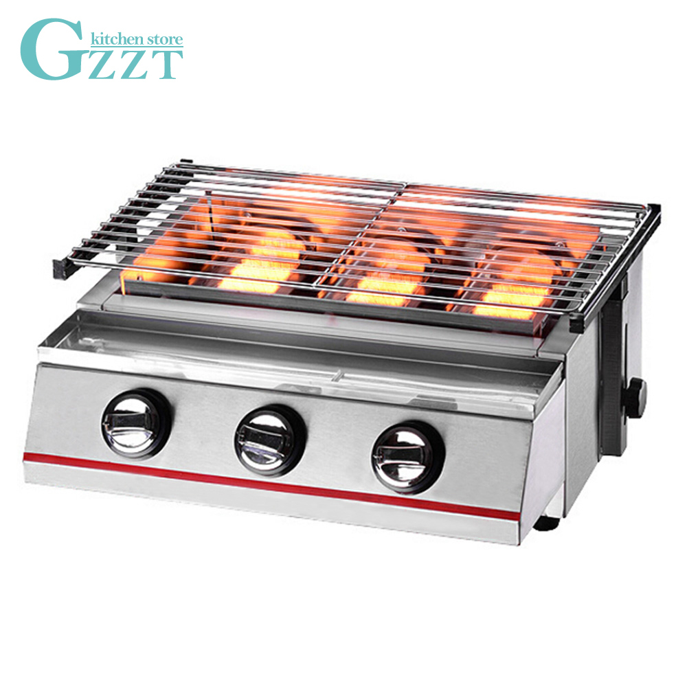 Steel Shield/Glass Shield Height Adjustable 3 Burners Gas BBQ Grill Barbecue 450*250mm Grill Size