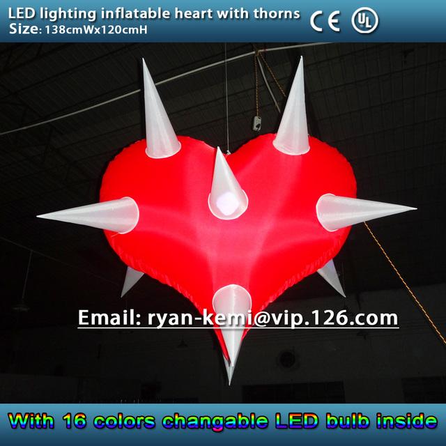 CONDUZIU a iluminação inflável coração com espinhos coração inflável para a decoração com luz LED bar decorativo balão inflável