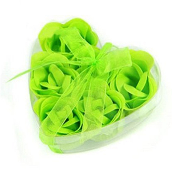 New 6 Pcs Green Scented Bath Soap Rose Petal In Heart Type Box