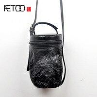 AETOO Skórzana torba retro przenośne bęben bęben torba Koreańska wersja osobowości wiadro pakiet garbowanej kożuch lady Messenger