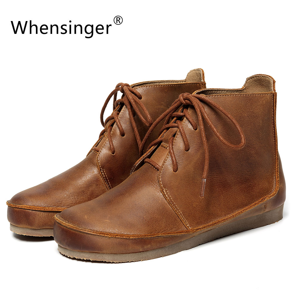 Whensinger - 2017 New Women Boots Genuine Leather Shoes Vintage Lace-Up Design Handsewn 1171 whensinger 2017 new women fashion boots genuine leather fashion shoes rubber sole hands sewing 2 color 7126