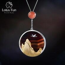 Lotos zabawy prawdziwe 925 srebro naturalny kamień szlachetny Fine Jewelry kreatywny powracający ptak w zachodzie słońca wisiorek bez naszyjnik