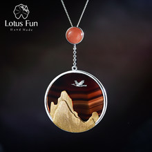 Lótus Divertido Retornando Real 925 Sterling Silver Gemstone Natural Fine Jewelry Criativo Pássaro no Por do Sol Pingente sem Colar(China)