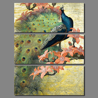 Big Size 3pcs Decoration Peacock Forest Birds Wall Art Picture Flower Tree Colorful Canvas Painting For