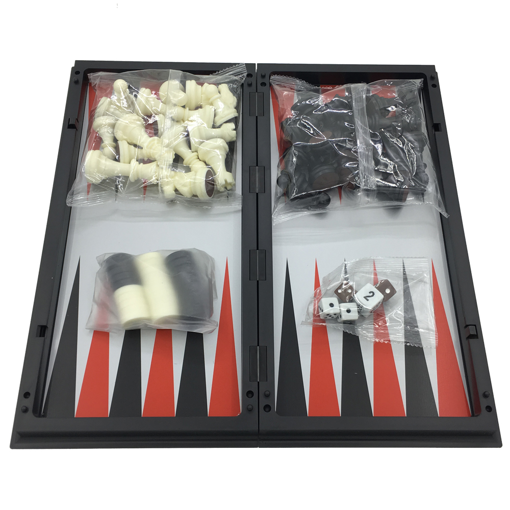 Pieghevole magnetica Scacchi e Dama e Backgammon 3 In 1 Bordo di Formato 31.6 cm * 31.6 cm Grande Scacchi Regali per Gli Uomini All'aperto di Viaggio Gioco