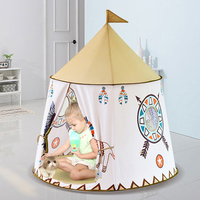 Portable Children's tent For Kids Lions Wigwam Present Hang Flag Teepee Children Tent Princess Castle Baby Cartoon Play House