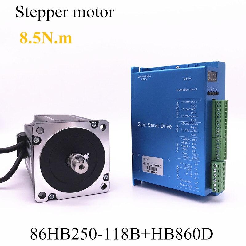 A circuito chiuso passo motore 86HB250-118B + HB860D servo 8.5N.m Nema 86 Hybird a circuito chiuso 2-fase del motore passo-passo driver del motore