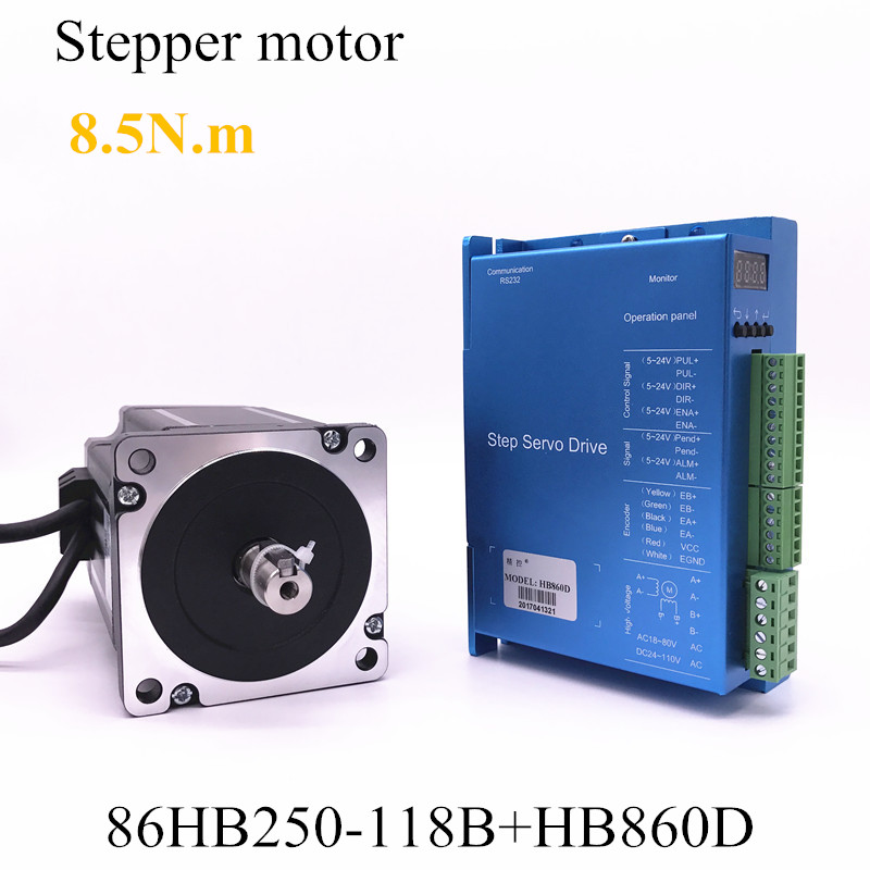 Closed-loop step motor 86HB250-118B+HB860D servo motor 8.5N.m Nema 86 Hybird closed loop 2-phase stepper motor driver 2 phase 8 5n m closed loop stepper servo motor driver kit 86j18118ec 1000 2hss86h cnc machine motor driver