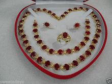 wholesale choker jewelry sets for women anime Quartz stone gems Women Gift Red zircon GEM Earring Bracelet Necklace Ring