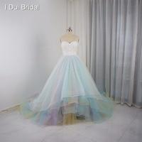 Тюль синий розовый красочные свадебные платья настоящая фотография Свадебное платье индивидуальный заказ 3D цветок корсет бальное платье
