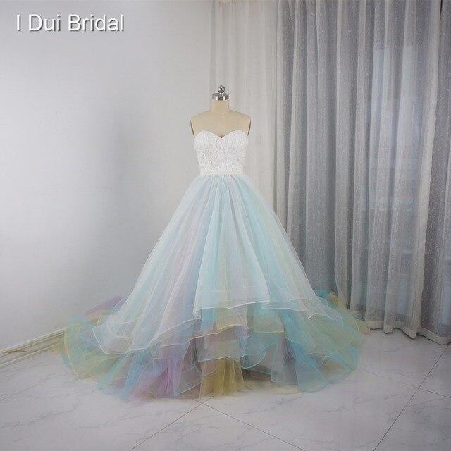 27f63b9f44e9b Тюль синий розовый красочные свадебные платья настоящая фотография  Свадебное платье индивидуальный заказ 3D цветок корсет бальное