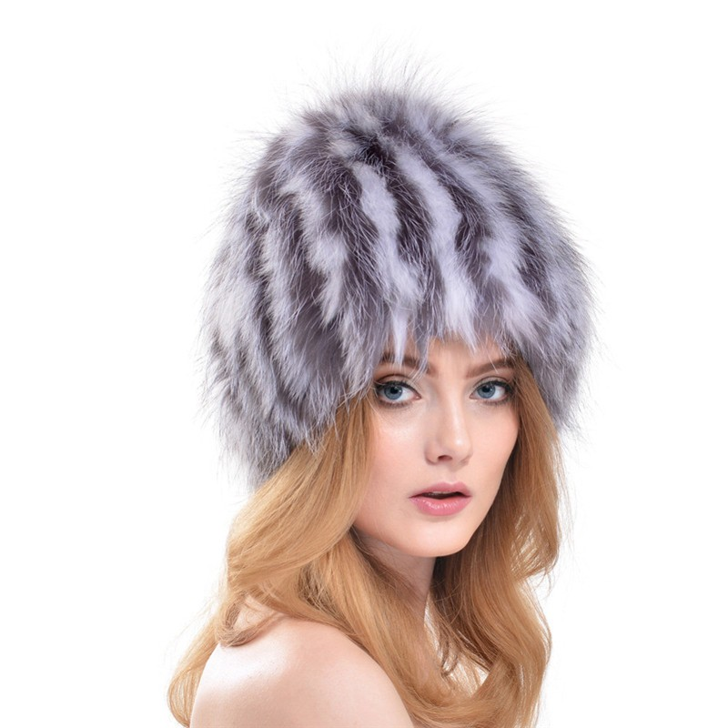QUEENFUR-Women-Real-Silver-Fox-Fur-Hat-Muticolors-Ladies-Raccoon-Fur-Beanies-Winter-Fox-Fur-Headgear