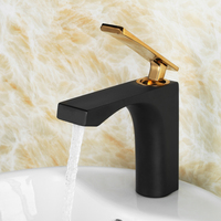 Die casting Quality choice Single Handle Bathroom Sink Faucet Solid Brass Basin Mixer Taps,Black gold plating