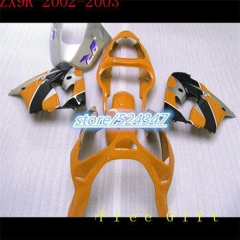 Custom motorcycle three free package Ninja ZX9R kawasaki Ninja 2002 2003 9 r ZX9R orange black silver bacardi fairing sections
