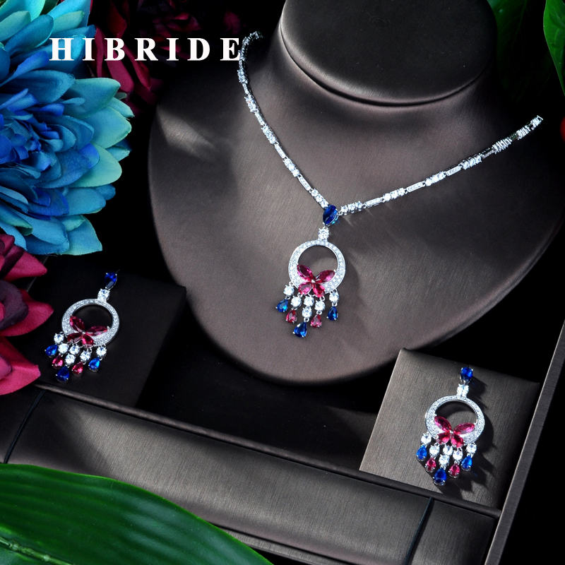 HIBRIDE Luxury White gold Color Colorful Cubic Zircon Pendant Women Jewelry Set For Bridal Party Accessories Jewelry Gifts N 932-in Jewelry Sets from Jewelry & Accessories    1