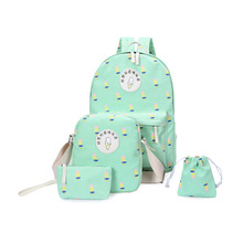 4 PCS/Set Women Backpack Canvas Printing School Bags For Teenagers Girls Backpacks Cute  Schoolbag Lady Bookbags Female N356