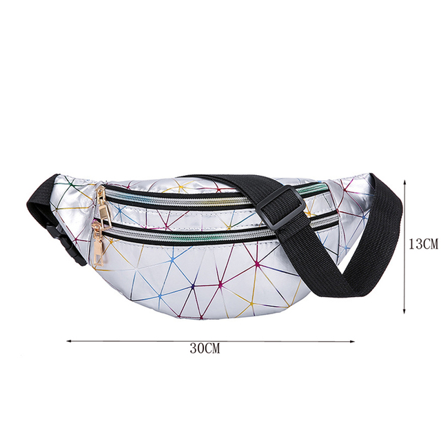 Women's Fashion Waist Packs Personalized Rock and Roll Color PU Leather Flashing Lattice Belt Bag Nerka Fanny Pack 5
