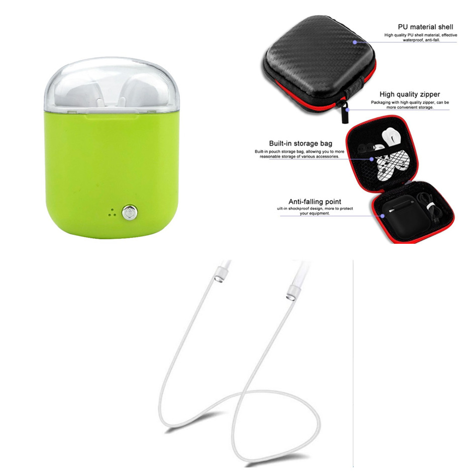 Mini Double ear Earbuds bluetooth Earphone i7 TWS Wireless earphones Headsets with mic with retail box and rope for smart phone