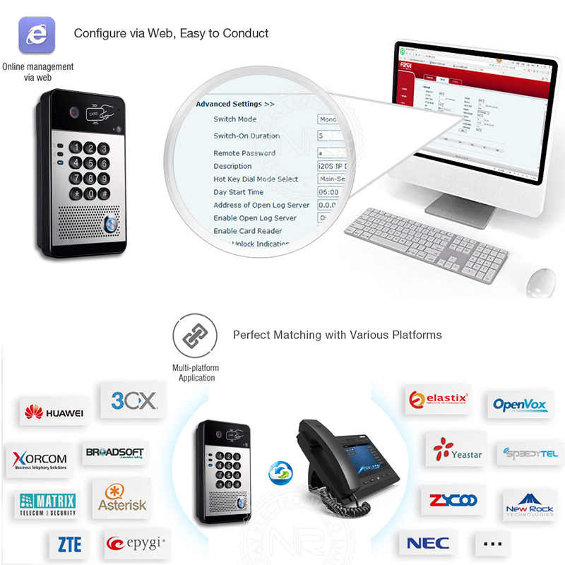 Video Intercom System Video SIP Door Phone support for PBX Huawei/  Asterisk/ 3CX/ NEC/ Alcatel/ ZTE/ Avaya/ Cisco IP PBX