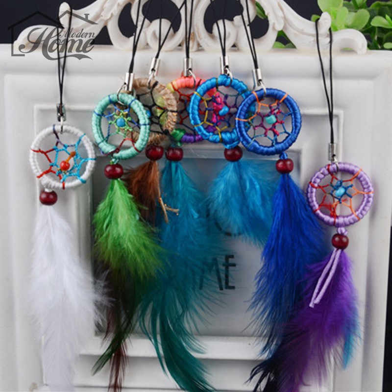 1pc Dream Catcher Keychain With Feathers Hanging Decoration Craft Gift Wind Chimes Window Car Hanging Decor Keyring Ornament
