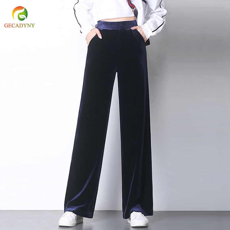 03dfbd06f9ace Fashion 2018 Autumn Women Long Velvet Pants Loose Casual Wide Leg Velour  Pants Plus Size Velvet