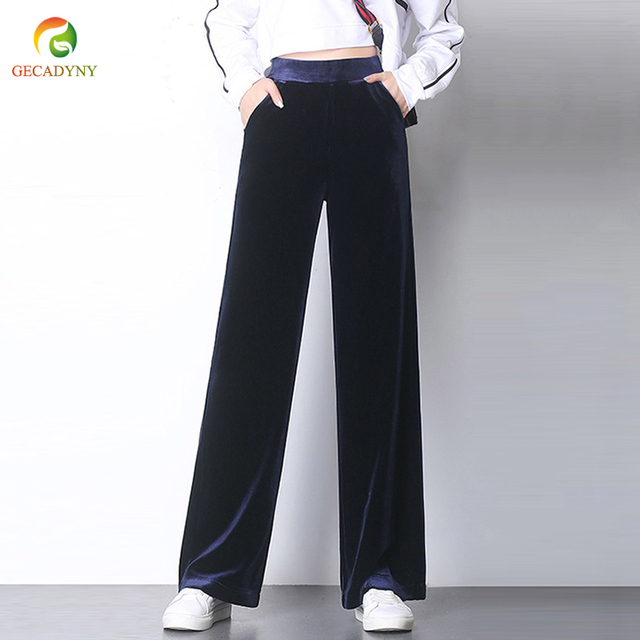 c88c6c659ef Fashion 2018 Autumn Women Long Velvet Pants Loose Casual Wide Leg Velour Pants  Plus Size Velvet