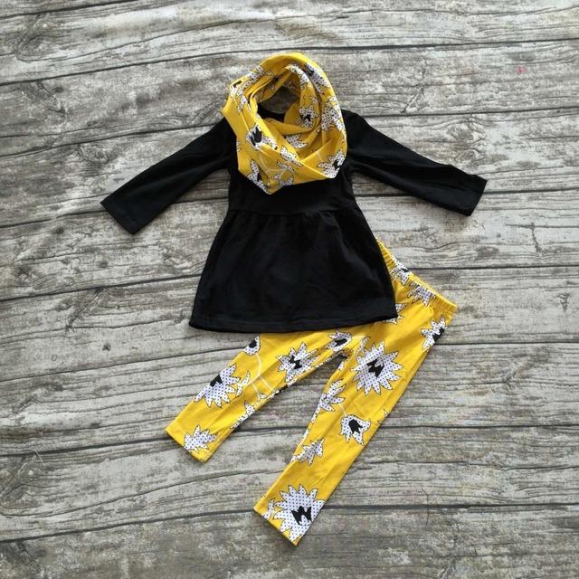 OTOÑO TRAJES persnickety niñas 3 unidades muchachas de los sistemas conjuntos de pantalón niñas boutique de ropa de los niños top negro con pantalón y bufanda conjuntos