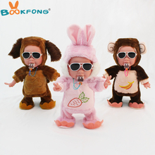 32CM Funny Electric Plush Toys Music Walking Dancing Dog Monkey Stuffed Dolls with Ice Cream Plush Bears Gifts for Kids