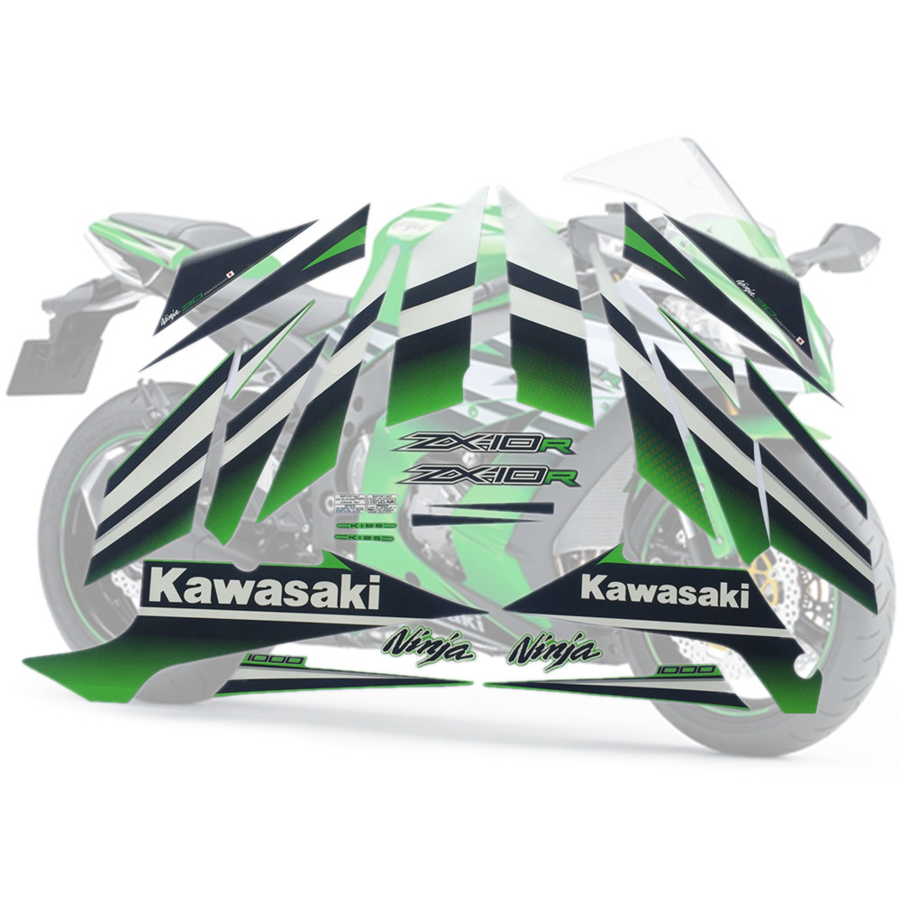 Motorcycle For Kawasaki NinjaZX10R 15 Ninja ZX 10R 2015 ZX10R Fairing Sticker Full Kit Applique High Quality Whole Vehicle Decal
