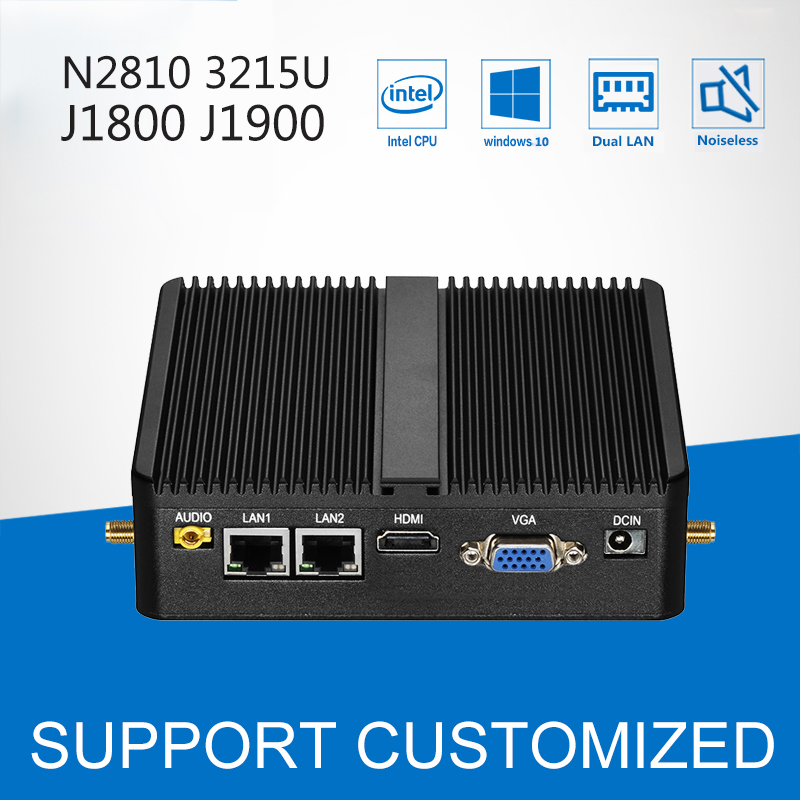 Mini PC J1900 Quad Core 4G RAM Windows 10 Dual LAN 2 COM Fanless Mini Computer 3205U J1800 N2810 Nottop with 300M WIFI HDMI VGA
