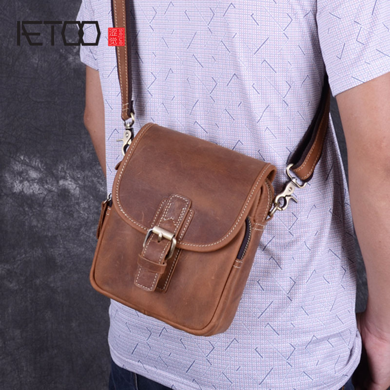 AETOO Men's mini bag mad horse leather men's bag shoulder leather leisure small summer leather phone pockets