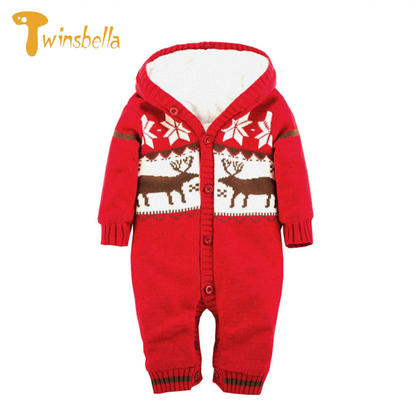 TWINSBELLA Baby Girl Romper Winter 2017 Cute Infant Xmas Elk Long Sleeve Jumpsuit Baby Boys Warm Thick Velvet One Piece Clothes puseky 2017 infant romper baby boys girls jumpsuit newborn bebe clothing hooded toddler baby clothes cute panda romper costumes
