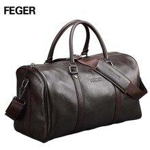 Free shipping FEGER brand fashion extra large weekend duffel bag big genuine leather business men's travel bag popular design