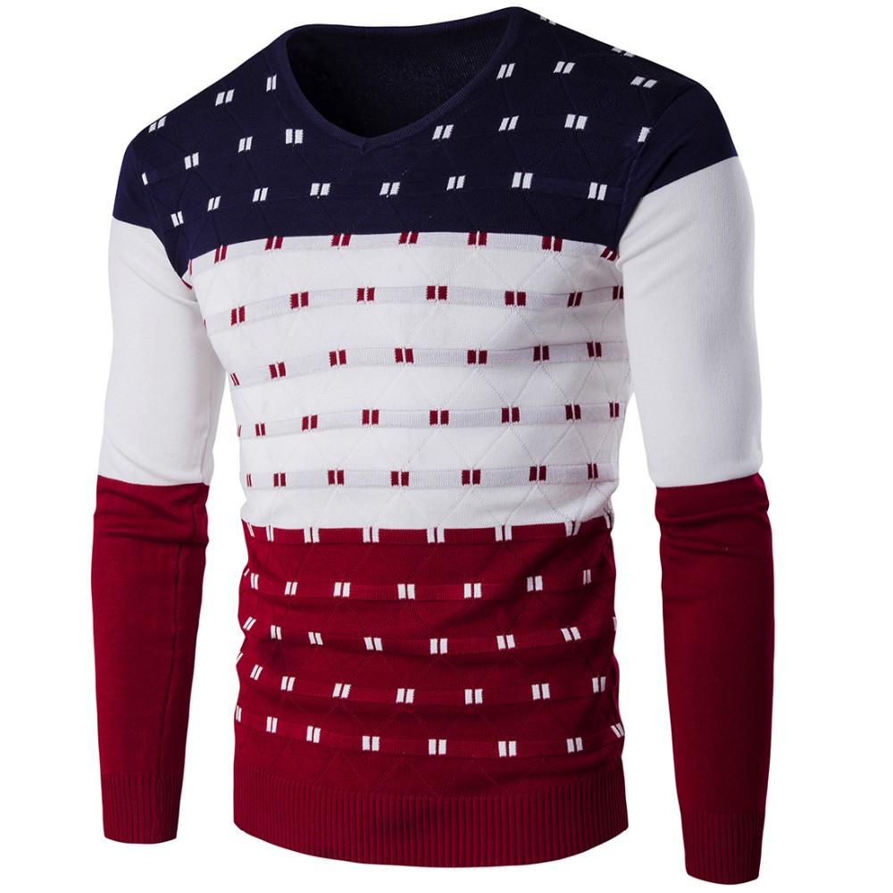 dd55a899e Navy blue collar New Brand Men Wool Sweater Autumn Winter v neck ...