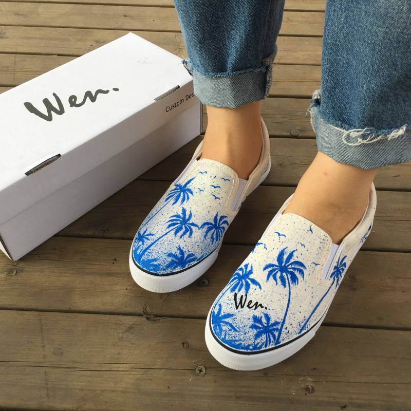 Wen Design Custom Original Hand Painted Shoes Coconut Palms Tree The Summer Vacation Slip On White Canvas Sneakers Unisex Gifts wen anime design custom hand painted canvas shoes kabaneri of the iron fortress slip on men women bottom sneakers birthday gifts