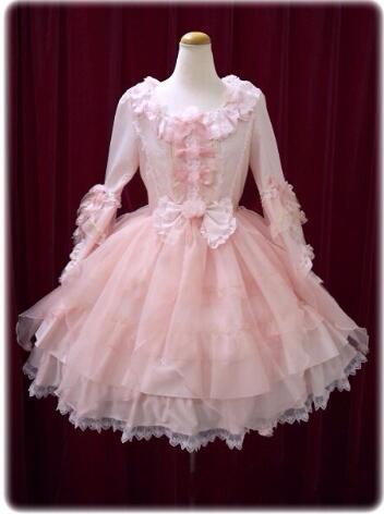 Élégante femme dames Cosplay Lolita rose dentelle robe Lolita