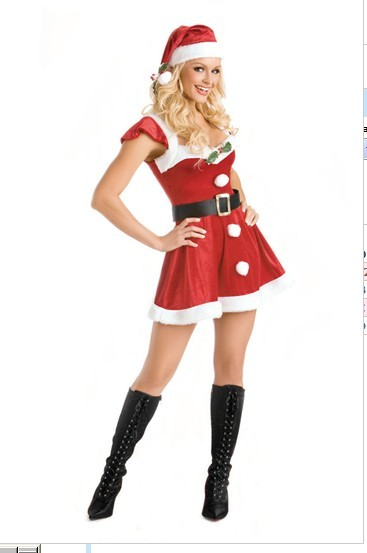 free shipping Sexy Santa Outfit Costume Adult Christmas Fancy Dress 072